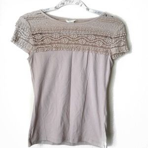 H&M Pink Upper Lace Detail Top S